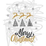 Christmas greeting card. Christmas trees covered with snow, deer, lettering Merry Christmas stock illustration