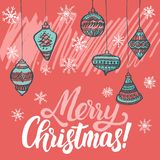 Christmas greeting card. Christmas trees covered with snow, snowflakes, patterns, lettering - Merry Christmas royalty free illustration