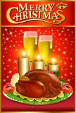 Christmas greeting card with turkey and candles Royalty Free Stock Image