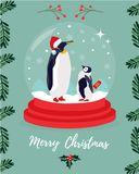 Christmas greeting card with two Emperor penguins vector illustration