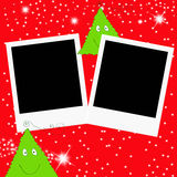 Christmas greeting card two photo frames Royalty Free Stock Image