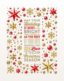 Christmas greeting card with type design royalty free illustration