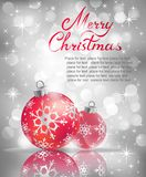 Christmas greeting card. Vector Christmas ball on abstract silver lights background Stock Images