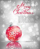Christmas greeting card. Vector Christmas ball on abstract silver lights background Stock Photo
