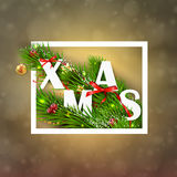 Christmas greeting card . Vector Illustration Stock Photos