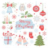 Christmas greeting card. Vector set of Christmas elements. Hand drawn lettering royalty free illustration