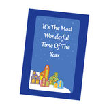 Christmas Greeting Card. Christmas Village on the blue background. Vector illustration Stock Photo