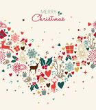 Christmas greeting card with vintage holiday icons stock illustration