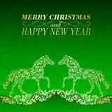 Christmas Greeting Card. Vintage card with horse. Vector illustration royalty free illustration