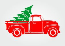 Christmas greeting card. Vintage pickup, truck with Christmas tree. Vector illustration vector illustration