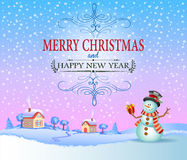 Christmas greeting card in vintage style Stock Image