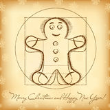 Christmas greeting card with vitruvian gingerbread stock illustration