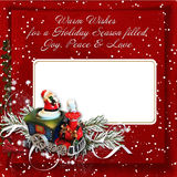 Christmas Greeting  card with warm wishes. Christmas background with card,train, Santa and warm wishes Royalty Free Stock Photos