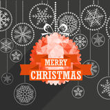 Christmas greeting card with white christmas bauble Royalty Free Stock Photo