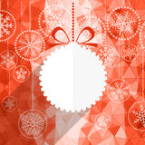 Christmas greeting card with white christmas bauble Stock Images