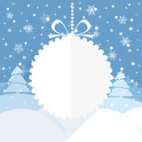 Christmas greeting card with white christmas bauble. And snowflake background. Merry Christmas and Hapy New Year Stock Photos