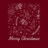 Christmas greeting card. White hand drawn doodle elements on a dark red background. vector illustration