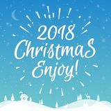 Christmas greeting card with white label consisting sign 2018 Christmas enjoy with sunburst. On snow holiday background gradient style. Vector Illustration Royalty Free Stock Photo