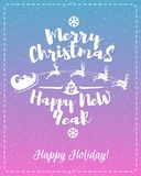 Christmas greeting card with white label consisting sign Merry Christmas enjoy and Happy New Year. With santa and deer  on snow holiday background blue cyan Royalty Free Stock Photo