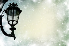 Christmas greeting card - white night with stars and street lamp royalty free stock image