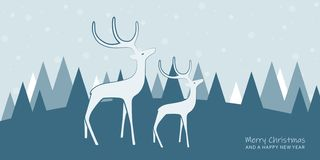 Christmas greeting card with white reindeers and winter landscape vector illustration