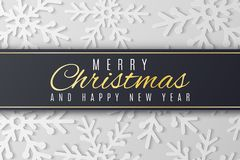 Christmas greeting card. White snowflakes cut out of paper. Happy New Year 2019. Seasonal festive web banner. Black label with. Text. Vector illustration. EPS royalty free illustration