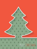 Christmas greeting card with white tree and christmastree patter Royalty Free Stock Photography