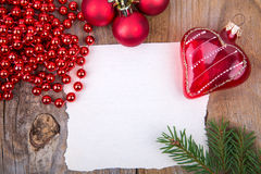 Christmas Greeting Card whith glass heart Stock Image