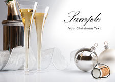 Christmas greeting card wiht champagne Stock Images