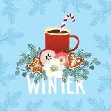 Christmas greeting card, winter invitation with red cup of hot drink. Cocoa or coffee decorated with candy cane stick. Gingerbreadcookie, flowers and fir tree Stock Photo