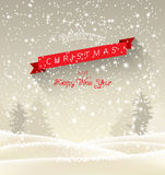 Christmas greeting card with winter landscape in Royalty Free Stock Photos