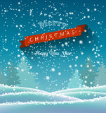 Christmas greeting card with winter landscape Royalty Free Stock Photography