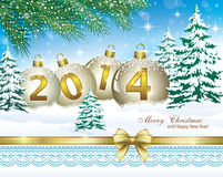Christmas greeting card 2014. 2014 Christmas card with winter landscape in the decoration Stock Images