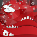 Christmas greeting card on winter landscape. Stock Photos