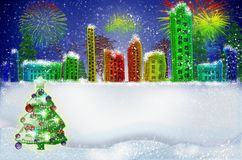Christmas greeting card. Winter Snow Urban Countryside Landscape stock images