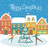Christmas greeting card. Winter Snowy houses and people figure skating. Colorful  illustration Royalty Free Stock Photo