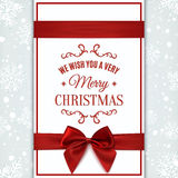 Christmas greeting card. We wish you Merry Christmas greeting card with red ribbon and bow. Invitation, flyer or brochure template. Vector illustration Royalty Free Stock Images