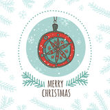 Christmas Greeting Card With Bauble Royalty Free Stock Photo