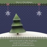Christmas Greeting Card With Christmas Tree I Winterlandscape And A Bible Quote From Luke 2 14 Stock Photos