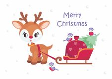 Christmas Greeting Card With Cute Little Deer Royalty Free Stock Photo