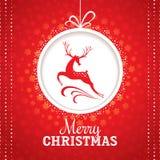 Christmas Greeting Card With Deer Stock Photo