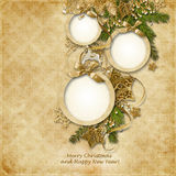 Christmas Greeting Card With Frames For Photos Of The Family, Wi Stock Photos