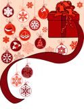 Christmas Greeting Card With Gift Box Royalty Free Stock Photo