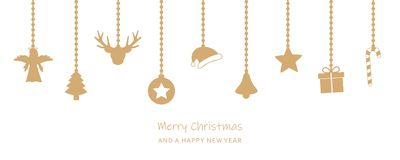 Free Christmas Greeting Card With Hanging Decoration On White Backgro Stock Photo - 129994440