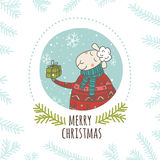 Christmas Greeting Card With Sheep And Gift In Circle Stock Image