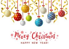 Free Christmas Greeting Card With Xmas Balls Stock Images - 121050584