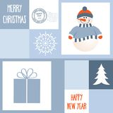 Christmas Greeting card with wnowman Stock Images