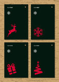 Christmas greeting card on wood texture background. Vector. Royalty Free Stock Images