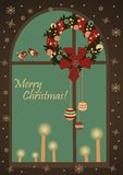 Christmas greeting card with wreatjh on window. Vector Christmas greeting card with wreatjh on window and candles Stock Image