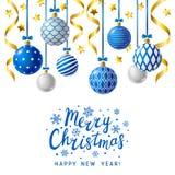 Christmas greeting card with Xmas balls Royalty Free Stock Photos